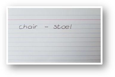 Woordjes leren flashcard wit